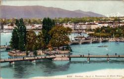 Genève - Ile J.-J. Rousseau et Mont Blanc.