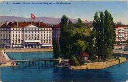 Genève - Grand Hôtel des Bergues et Ile Rousseau.