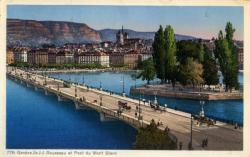 Genève - Ile J.J. Rousseau et du Mont Blanc.