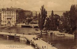 Genève - Ile Rousseau et quai du Mont-Blanc