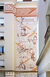 """Fresque """"Porte de la soie"""", 3 rue Carquillat, 1er arrondissement."""