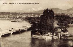 Genève - Ile J.-J. Ile Rousseau et Mont-Blanc