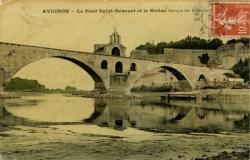 Avignon - Le Pont Saint-Bénézet et le Rhône (époque des basses eaux)