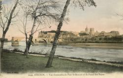 Avignon - Vue d'ensemble du Pont St-Bénézet et du Palais des Papes