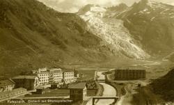 Furkabahn. Gletsch mit Rhonegletscher