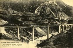 Viaduc de la ligne de Savoie - Vallée du Rhône et Fort de l'Ecluse.