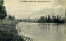 Le Rhône à Thil (Ain) - Hôtel du Nautonier.