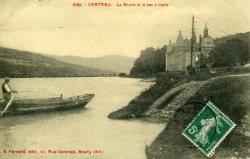 Vertrieu. - Le Rhône et le bac à traille.