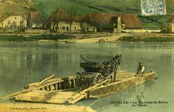 Groslée. -La traversée du Rhône en Traille.