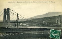 Groslée. - Le nouveau Pont sur le Rhône et les Montagnes du Bugey.