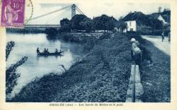 Groslée (Ain) - Les bords du Rhône et le pont.
