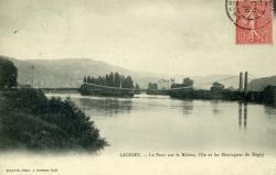 Lagnieu. - Le Pont sur le Rhône, l'Ile et les Montagnes du Bugey.