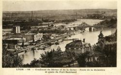 LYON. - Confluent du Rhône et de la Saône - Ponts de la Mulatière et quais du Port Rambaud