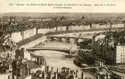 Lyon - La Saône et Ponts Saint-Vincent, la Feuillée et du Change - Quai de la Pêcherie et Saint-Antoine