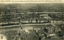 Lyon -  Vue panoramique  prise de l'Ascenseur de la Tour Métallique de Fourvière