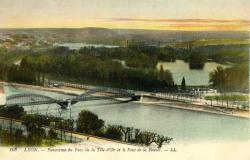 Lyon. - Panorama du Parc de la Tête d'Or et le Pont de la Boucle.