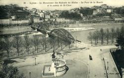Lyon - Le Monument des Enfants du Rhône - Le Pont de la Boucle et le coteau de St-Clair