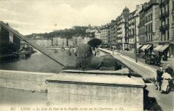 Lyon - Le Lion du Pont de la Feuillée et vue sur les Chartreux.