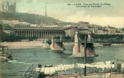 Lyon - Pont du Palais, le Palais et le Coteau de Fourvière