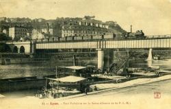 LYON. - Pont tubulaire sur la Saône (chemin de fer P.-L.-M.).