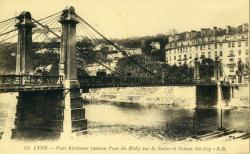Lyon - Pont Kitchener (ancien Pont du Midi) sur la Saône et Coteau Ste-Foy
