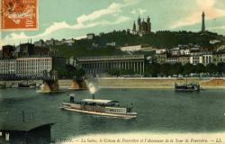 Lyon. - La Saône, le Coteau de Fourvière et l'ascenseur de la Tour de Fourvière.