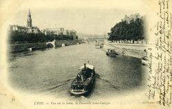 Lyon. - Vue sur la Saône, la Passerelle Saint-Georges