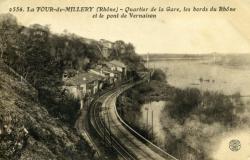 La Tour-de-Millery (Rhône) - Quartier de la Gare, les bords du Rhône et le pont de Vernaison
