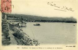 Oullins - Les Quais du Rhône et le confluent de la Mulatière