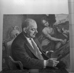 "[Portrait de Nicos Dhikeos devant ""La Leda au cygne"" de Léonard de Vinci]"