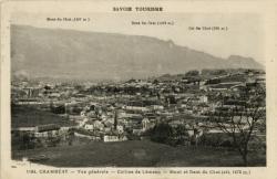 Savoie Tourisme : Chambéry ; Vue générale ; Colline de Lémenc ; Mont et Dent du Chat (alt. 1472 m.).