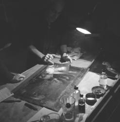 Mouchot, Pierre : Portrait dans son atelier