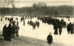 Lyon : Le Parc de la Tête d'Or sous la neige ; Le lac gelé ; Promeneurs regardant les patineurs.