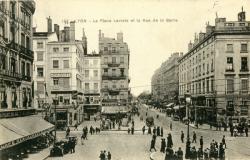 Lyon : La Place Leviste et la Rue de la Barre.