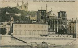 Lyon : Eglise de Fourvière et Eglise St-Jean.
