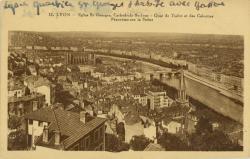 Lyon : Eglise St-Georges ; Cathédrale St-Jean ; Quai de Tilsitt et des Célestins ; Panorama sur la Saône.