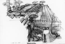 """[Avant-projet pour l'aménagement de la terrasse du restaurant """"Le Gourmandin""""]"""