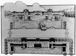 """[1er Symposium """"Partners for Livable Places"""" (1987). Projet pour un pont du commerce sur la Saône]"""