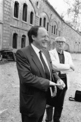 [Jacques Oudot et Roger Planchon en déplacement sur un tournage au Fort du Bruissin]