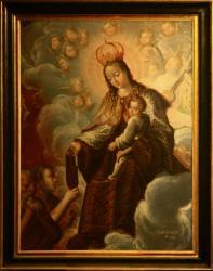 """""""La Vierge à l'enfant remettant le scapulaire à St Simon Stock"""", église Saint-Roch, Grézieu-la-Varenne"""