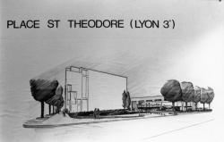 """[Atrium de l'Hôtel de ville de Lyon. Exposition """"Places de Lyon, 24 projets""""]"""
