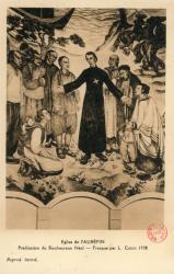 Eglise de L'Aubépin. - Prédication du bienheureux Néel, martyr. - Fresque par L. Cottin 1938