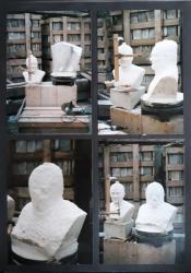 4 étapes de la réalisation du buste en marbre de Charles Hernu.