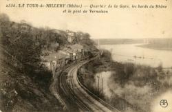 La Tour-de-Millery (Rhône). - Quartier de la Gare, les bords du Rhône et le pont de Vernaison