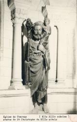 Eglise de Charnay (Rhône) : Statue de Saint Christophe du XIIIe siècle