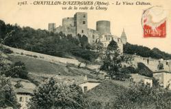 Châtillon (Rhône) : Le Vieux Château, vu de la route de Chessy