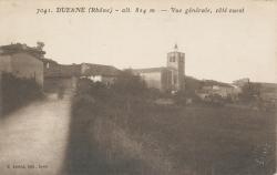 Duerne (Rhône) : alt. 824 m. - vue générale, coté ouest