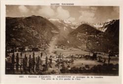 Savoie Tourisme : Environs d'Aiguebelle ; Argentine et montagne de la Lauzière ; Vue prise de la rive gauche de l'Are