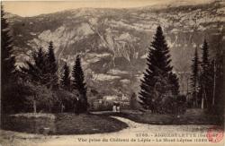 Aiguebelette (Savoie) : Vue prise du Château de Lépin ; Le Mont Lépine (1350 m.)