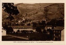 Arcens (Ardèche) alt. 625 m. - Vue générale et moulinage de soie